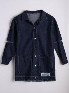 Patched Button Down Denim Coat With Pockets - Denim Blue