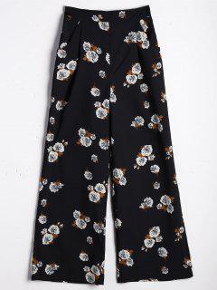 Pantalones De Pierna Ancha De Gran Cintura - Floral L