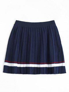 High Waist Striped Pleated Skirt - Deep Blue