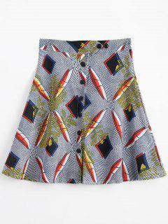 Button Up High Waist Printed Skirt - Multi L