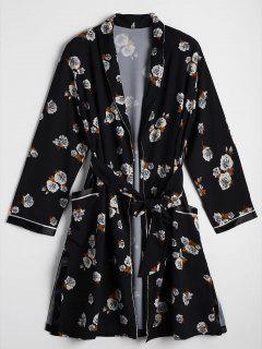 Long Belted Floral Kimono Blouse - Floral L