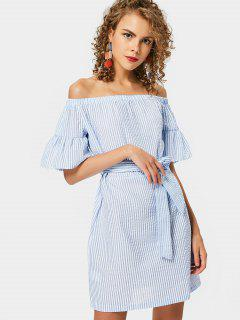 Stripes Belted Off Shoulder Mini Dress - Stripe S