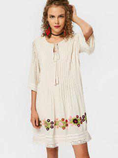 Lace Trim Tassels Embroidered Mini Dress - Palomino S