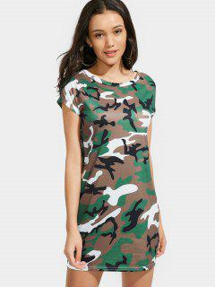 Round Collar Camouflage Shift Dress - Coffee S