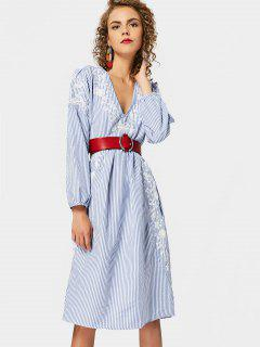 Long Sleeve Embroidered Stripes Shift Dress - Stripe L