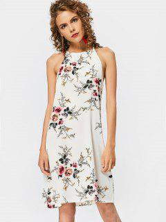 High Neck Keyhole Floral Swing Dress - Floral M