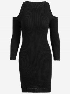 Knitting Slit Cold Shoulder Pencil Dress - Black