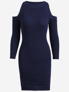 Knitting Slit Cold Shoulder Pencil Dress - Purplish Blue