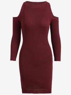 Knitting Slit Cold Shoulder Pencil Dress - Wine Red