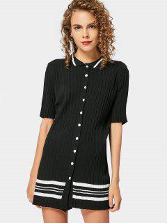 Stripes Button Up Sweater Dress - Black
