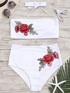 Bandeau Floral Applique Bikini à Taille Haute - Blanc M