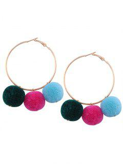 Fuzzy Ball Pompon Circle Hoop Earrings - Golden