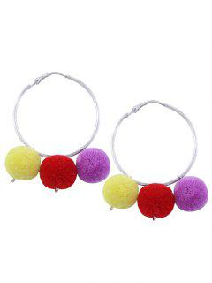 Fuzzy Ball Pompon Circle Hoop Earrings - Silver