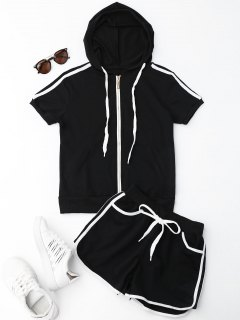 Side Stripe Hooded Top And Shorts Set - Black M