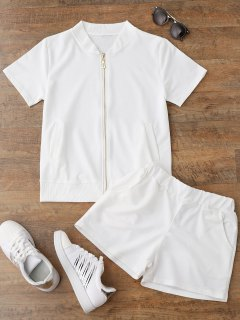 Zip Up Top And Shorts Sweat Suit - White M