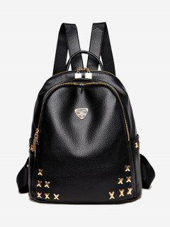 Textured Leather Metal Embellished Backpack - Black