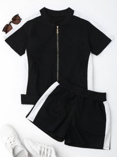 Two Tone Top And Shorts Sweat Suit - Black M