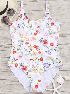 Floral Low Back One Piece Bademode - Weiß S