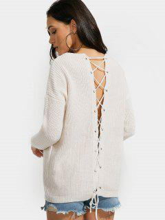 Drop Shoulder Back Lace Up Plain Sweater - Apricot