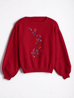Pull Brodé Floral Manches Lanterne - Rouge