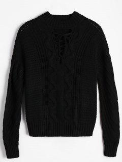 Loose Cable Knit Lace Up Sweater - Black