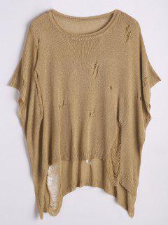 Ripped Oversized High Low Sweater - Khaki