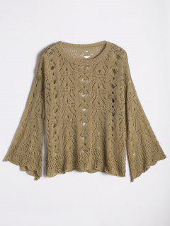 Flare Sleeve Sheer Ripped Sweater - Khaki
