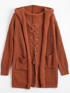 Back Lace Up Hooded Cardigan With Pockets - Brown