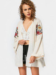 Drop Shoulder Floral Embroidered Knit Cardigan - Off-white