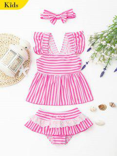 Tiered Striped Kid Skirted Tankini Set - Pink And White 7t