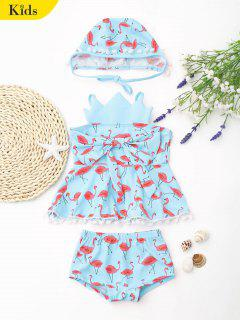 Bowknot Flamingo Crown Skirted Tankini Set - Light Blue 6t