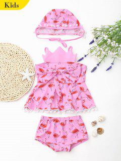 Bowknot Flamingo Crown Skirted Tankini Set - Pink 6t