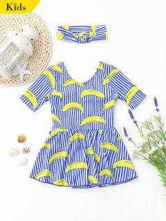 Cutout Banana Striped Skirted Kid Swimwear - Stripe 7t