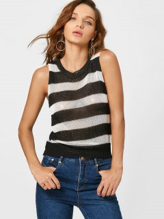 Striped Knitted Tank Top - Black