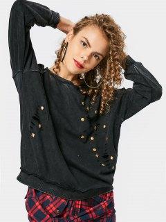 Loose Destroyed Rivet Sweatshirt - Black