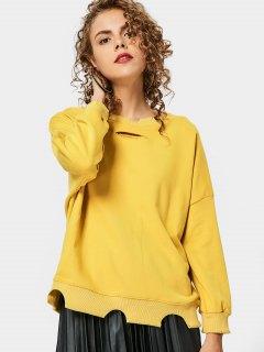 Loose Distressed Cutout Sweatshirt - Yellow