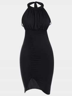 Backless Ruched Slit Bodycon Club Dress - Black Xl