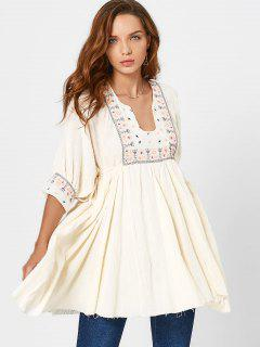 Notched Collar Patterned Mini Dress - Beige S