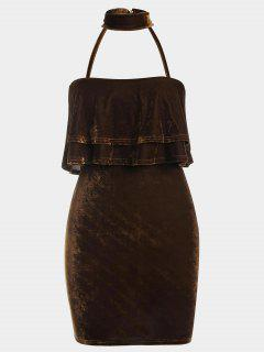 Tiered Bodycon Velvet Choker Dress - Coffee Xl
