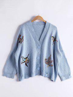 Bird Embroidered Drop Shoulder Cardigan - Light Blue