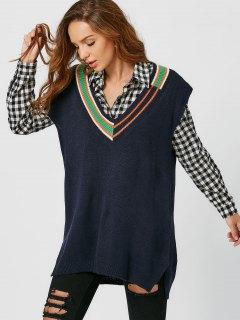 Plunging Neck Side Slit Sleeveless Sweater - Purplish Blue