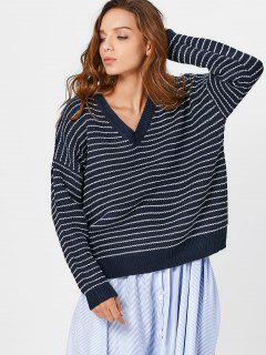 V Neck Drop Shoulder Striped Sweater - Purplish Blue