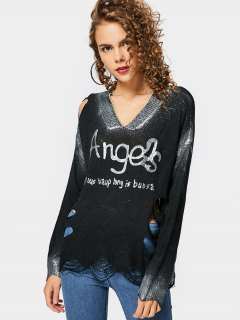 Loose Ripped Letter Shiny Sweater - Black