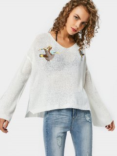 Side Slit Bird Embroidered Sweater - White