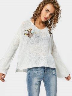 Side Slit Bird Bestickte Pullover - Weiß
