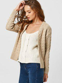 Drop Shoulder Cable Knit Cardigan - Khaki