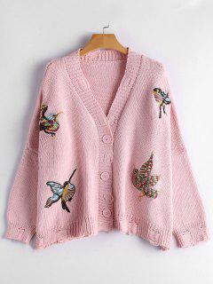 Bird Embroidered Drop Shoulder Cardigan - Pink