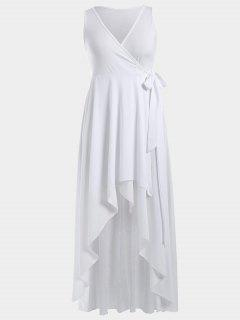 High Low Plunge Wrap Maxi Semi Prom Dress - White M