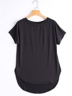Round Collar Plain High Low Tee - Black L