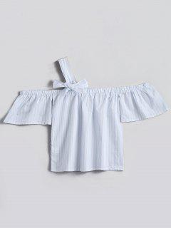Eine Schulter Bowknot Gestreifte Bluse - Weiß Xl